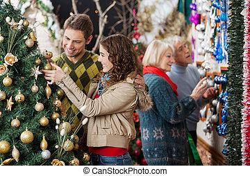 恋人, 木, 見る, 親, 背景, クリスマス