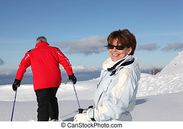 恋人, 楽しむ, から, 日, スキー