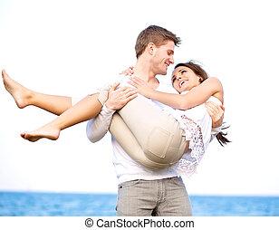 恋人, 楽しむ, ロマンチック, 彼ら自身, 屋外で