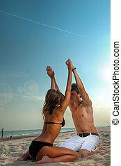 恋人, 楽しむ, 浜は 休暇をとる, 幸せ