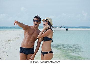 恋人, 楽しむ, 浜
