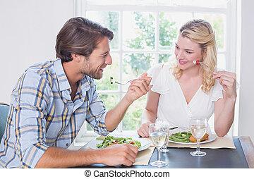 恋人, 楽しむ, 食事, 一緒に, 幸せ