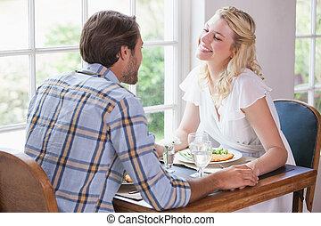 恋人, 楽しむ, 食事, 一緒に, 若い