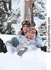 恋人, 横になる, ∥間に∥, スキー, 旅行