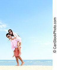 恋人, 浜, ロマンチック, 若い