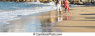 恋人, 浜, 動くこと, 幸せ