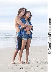 恋人, 浜, 若い, 包含