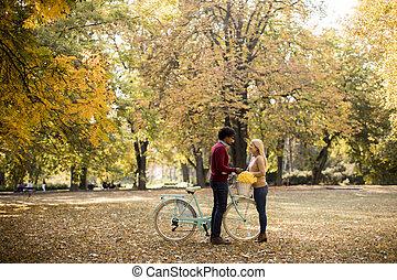 恋人, 秋, 自転車, 多人種である, 公園