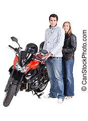 恋人, 立った, モーターバイク