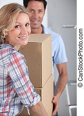 恋人, 箱, パッキング, 届く, 新しい 家