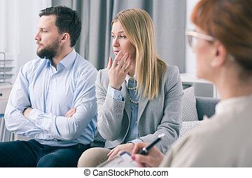 恋人, 結婚されている, 無知, 心理学者, セッション, 療法, の間, 提示