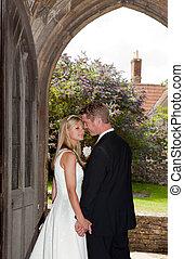恋人, 結婚式, 入口, 教会