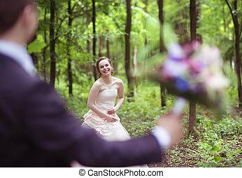 恋人, 結婚式, 歩きなさい
