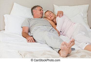 恋人, 美しい, ∥(彼・それ)ら∥, 睡眠, ベッド