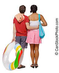 恋人, 背中, 付属品, インターナショナル, 円, 浜, 膨らませることができる, 光景