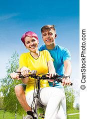 恋人, 自転車, 幸せ