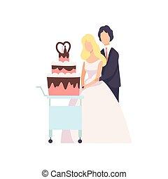 恋人, 花婿, イラスト, newleads, 花嫁, 切断, ベクトル, 背景, 結婚式のケーキ, 白, 式