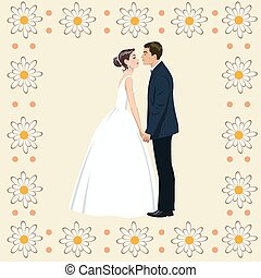 恋人, 花, フレーム, 結婚式