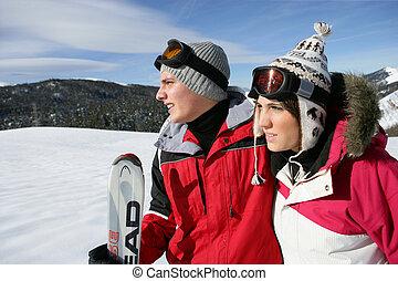 恋人, 若い, スキー