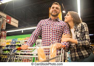 恋人, 若い, スーパーマーケット