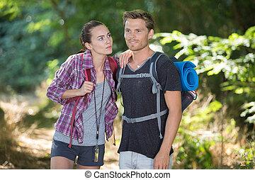 恋人, 若い, ハイキング, 森林