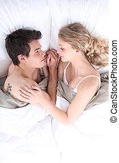 恋人, 若い, ベッド