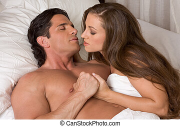 恋人, 若い, ベッド, heterosexual