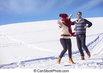 恋人, 若い, 一緒に, のんびりしている, snow., 楽しみ, 持つこと, 幸せ