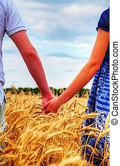 恋人, 若い, 手を持つ