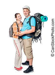 恋人, 若い, 抱き合う, ポーズを取る, 背景, 白, バックパック, 観光客