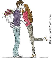 恋人, 若い, 接吻