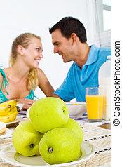 恋人, 若い, 朝食, 幸せ