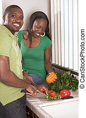 恋人, 若い, 薄く切ること, 民族, 野菜, 台所