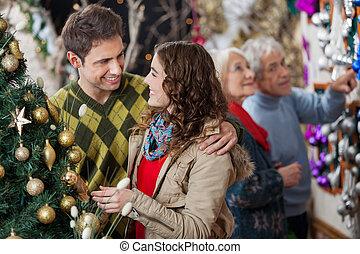恋人, 若い, 親, 背景, クリスマス, 店