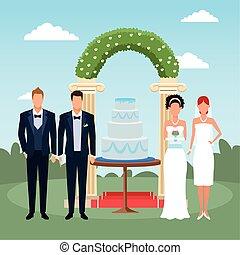 恋人, 草むしりする, ただ, ケーキ, 地位, のまわり, 花, 結婚されている, 景色, 結婚式, アーチ, 花婿の付き添い人