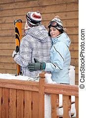 恋人, 行く, スキー