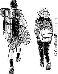 恋人, 行く, 図画, 旅行, 若い, 観光客, freehand, 一緒に