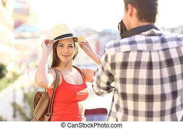 恋人, 観光客, 写真うつりする