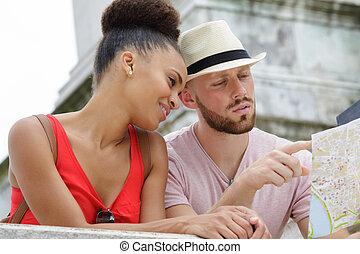 恋人, 観光客, 見なさい, 地図, 幸せ