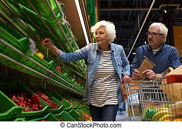 恋人, 買い物, シニア, スーパーマーケット