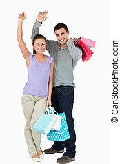 恋人, 買い物, 幸せ, 後で, 若い