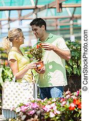 恋人, 買い物, 幸せ, 若い, 植物