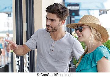恋人, 買い物, 窓, 若い