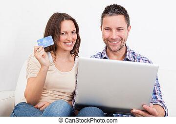 恋人, 買い物, 若い, オンラインで