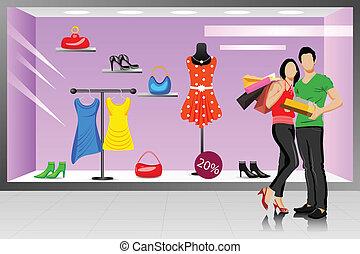 恋人, 買い物, 若い, 幸せ