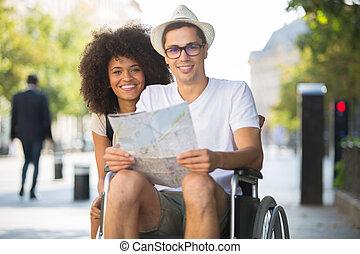 恋人, 車椅子, 若い, 肖像画, 観光客, 人