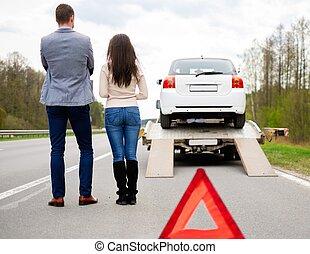 恋人, 近くに, tow-truck, 選択, 壊される, 自動車