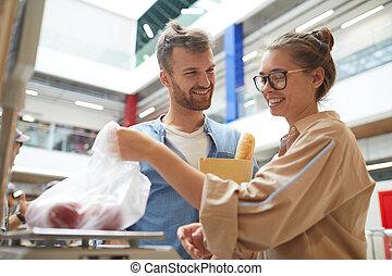 恋人, 野菜, 購入, 若い, スーパーマーケット