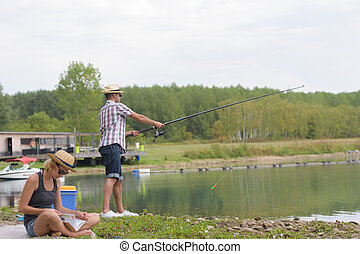 恋人, 釣り, 湖