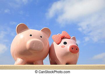 恋人, 銀行, 小豚, ピンク
